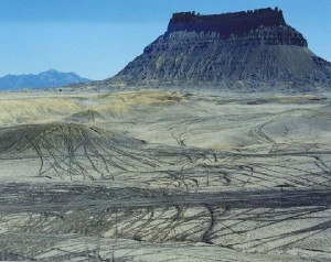 [Factory Butte tracks; photo by Ray Bloxham/SUWA]
