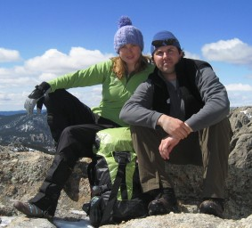 [J.D. Tanner and Emily Ressler on a summit.]